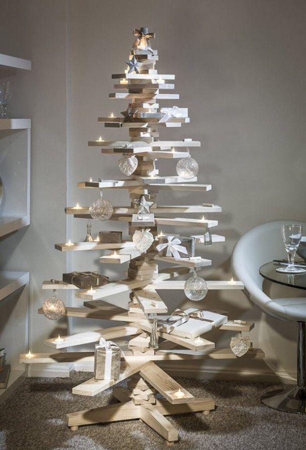 Árboles de navidad rústicos elaborados con palets